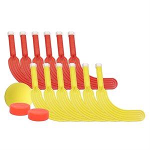 """Ens. de 12 bâtons de mini-hockey, 7"""""""