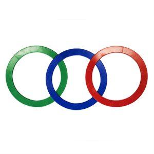 3 anneaux de jonglerie flexibles, 32 cm