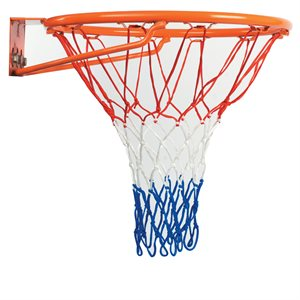 Filet de basketball en nylon, bleu / blanc / rouge