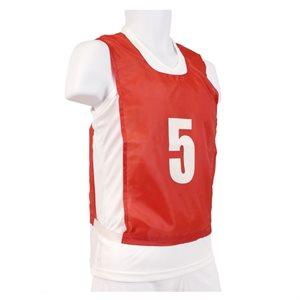 12 dossards numérotés, JR, rouges