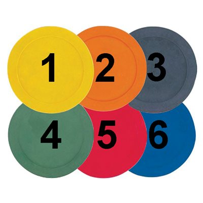 6 marqueurs numérotés en caoutchouc