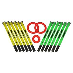 12 mini-bâtons ringuette + 3 anneaux