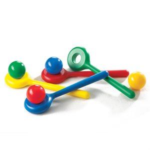 4 boules et cuillères colorées