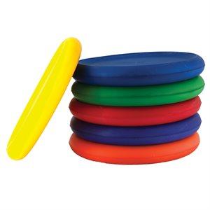 6 frisbees en mousse recouverts de vinyle
